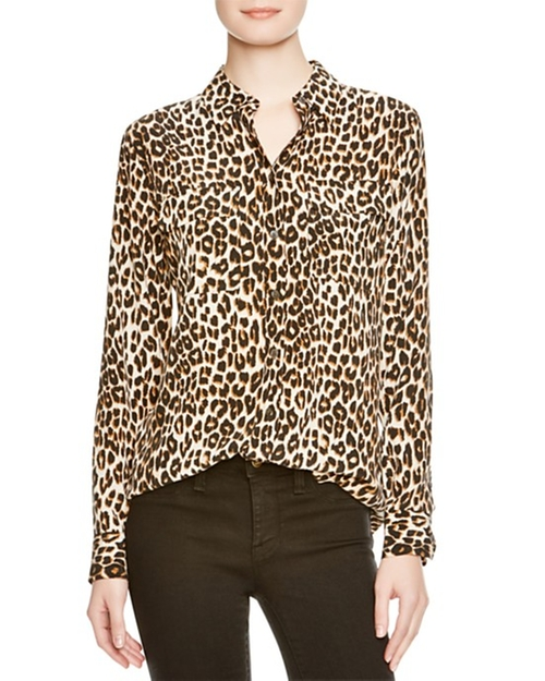 Leopard Print Slim Signature Shirt by Equipment in Keeping Up With The Kardashians - Season 11 Episode 1