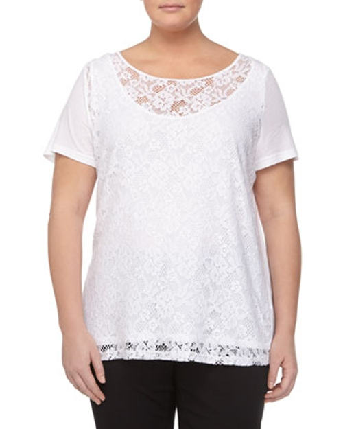 Lace Short-Sleeve Blouse by Three Dots in Black or White