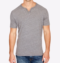 Split-Neck Cotton T-Shirt by Lucky Brand in Flaked