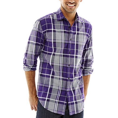 Long-Sleeve Blown Out Plaid Shirt by JF J. Ferrar in The Big Bang Theory - Season 9 Episode 9