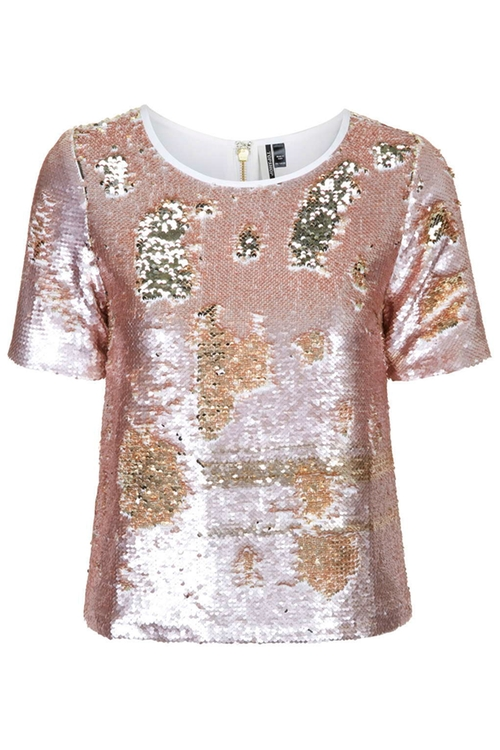 Two-Tone Sequin T-Shirt by Topshop in Scream Queens