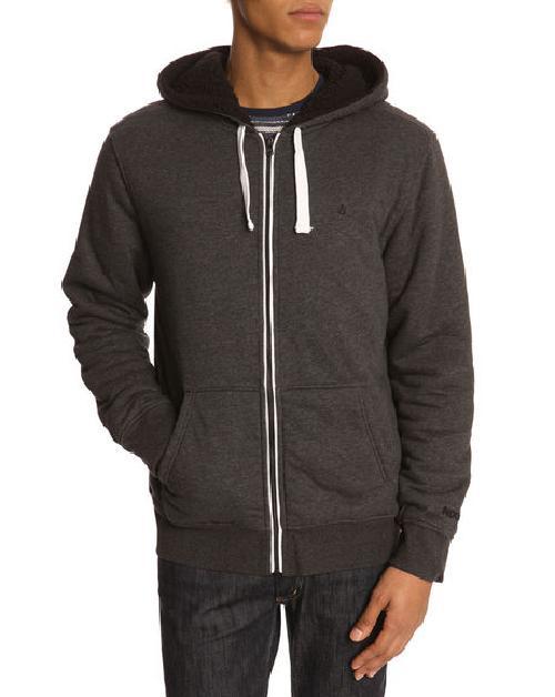 Sherpa Zip Hooded Black Faded Sweatshirt by NIXON in Brick Mansions