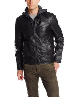 Men's Faux Leather Racer Hoodie Jacket by Levi's in John Wick