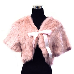 Rabbit Fur Short Sleeve Shrug by Fur Scarf & Shawl in Scream Queens
