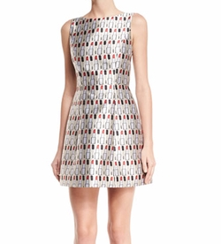 Lindsey Structured Cosmetics-Print Dress by Alice + Olivia in Empire