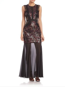 Shawna Sequined Sheer-Hem Dress by BCBGMAXAZRIA in Arrow