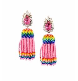 'Totem' Beaded Tassel Earrings by Shourouk in Scream Queens