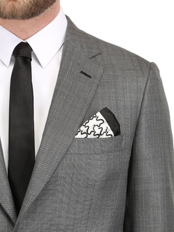 Snake Printed Silk Pocket Square by Ferrucci Milano in Arrow