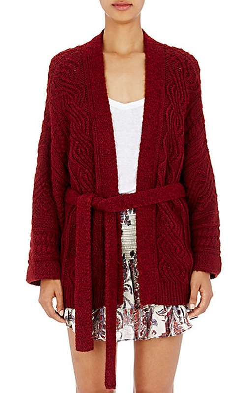 Cable Knit Belted Floyd Cardigan by Isabel Marant ÉToile in Elementary - Season 4 Episode 8