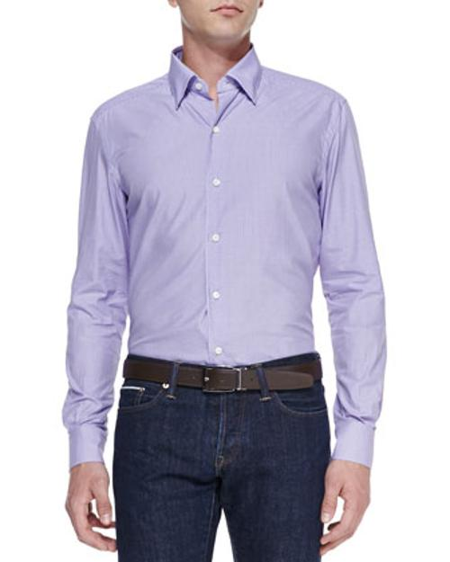 Poplin Micro Gingham Shirt by Ermenegildo Zegna in About Last Night