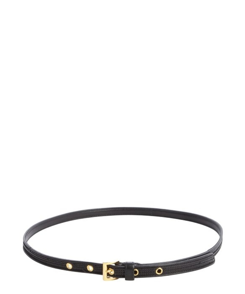Black Leather Skinny Belt by Prada in Pretty Little Liars - Season 6 Episode 4