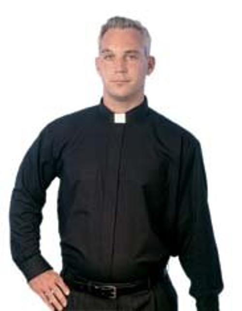 5000 Tab Long Sleeves Black Clergy Shirt by MDS in St. Vincent