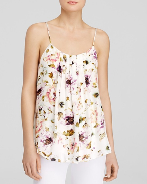 'Emily' Pleat Floral Cami Top by Haute Hippie in The Vampire Diaries - Season 7 Episode 1