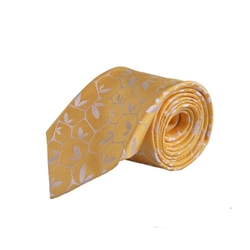 Hand Made Yellow Floral Print Neck Tie by Holliday & Brown in Suits