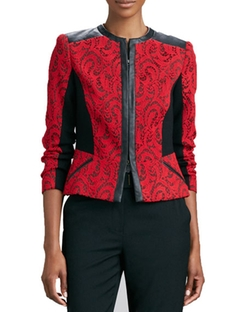 Textured Jacquard Leather-Trim Jacket by Magaschoni in Girlboss