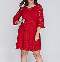 Lace Fit & Flare Dress by Lane Bryant in Empire