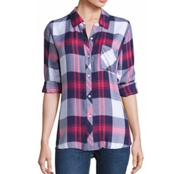 Hunter Long Sleeve Plaid Blouse by Rails in How To Get Away With Murder
