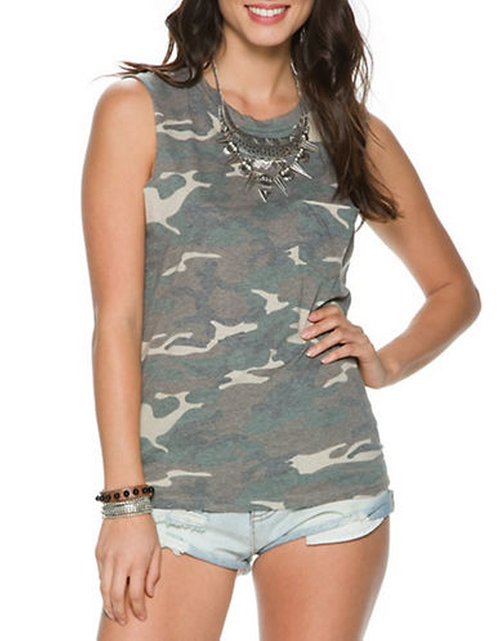Camouflage Muscle Tank by Prince Peter Collections in Sisters