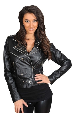 Studded Cropped Biker Style Fitted Leather Jacket by A1 Fashion Goods in Fast Five