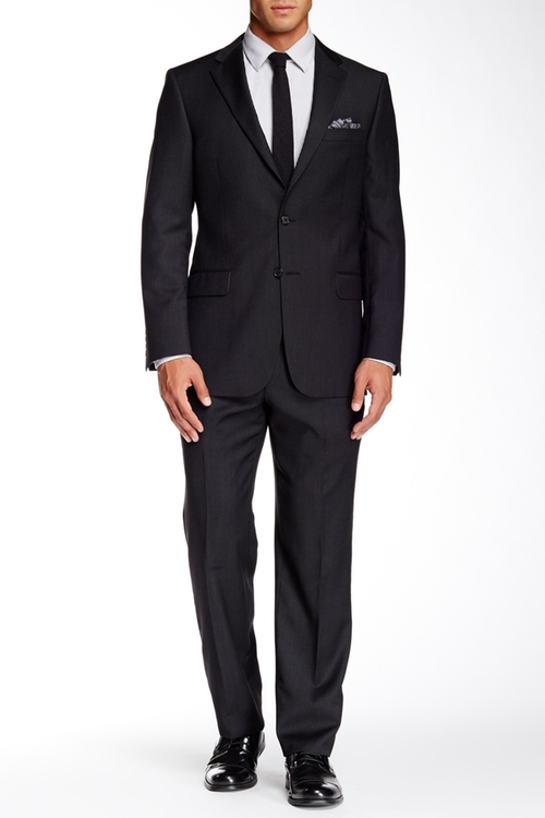 Black Sharkskin Two Button Notch Lapel Wool Suit by Hickey Freeman in Life
