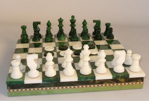 Green and White Alabaster Chess Set with Checkers in Inlaid Chest by Scali in A Good Day to Die Hard