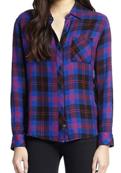 Hunter Plaid Flannel Button-Down Shirt by Rails in The Flash