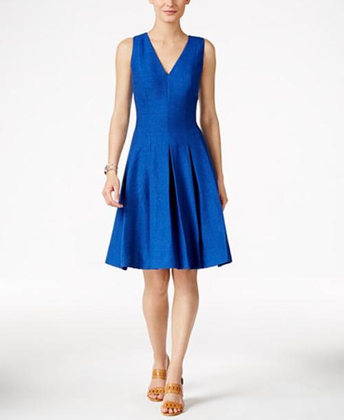 Shantung Fit & Flare Dress by Anne Klein in La La Land
