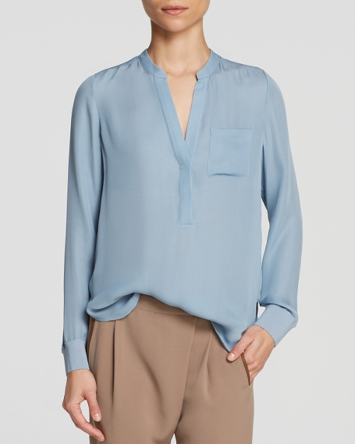 Trim Half Placket Silk Shirt by Vince Blouse in Before I Wake
