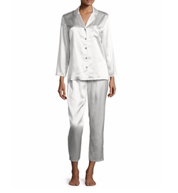 Silk Satin Two-Piece Pajama Set by Neiman Marcus in Animal Kingdom