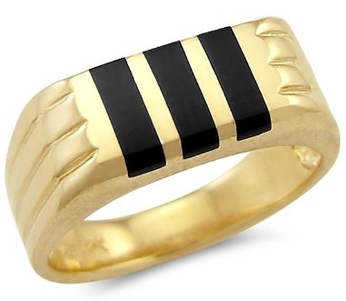 Onyx Stripe Band Ring by Sonia Jewels in Legend