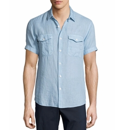 Short-Sleeve Linen Shirt by Theory in Ballers