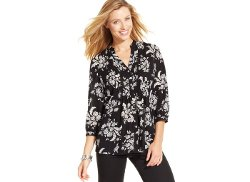 Floral-Print Pintucked Blouse by Charter Club in If I Stay