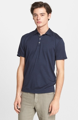 'Hampton' Silk & Cotton Polo Shirt by John Varvatos Collection in Ballers