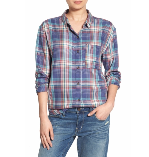 Drapey Plaid Boyfriend Shirt by Treasure & Bond in Pretty Little Liars - Season 7 Episode 7