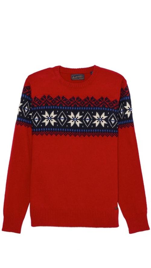 Crew Neck Intarsia Sweater by Scotch & Soda in Get On Up