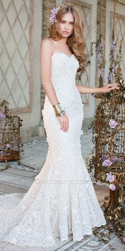 Lace Trumpet Wedding Dresses by Christian Michele from Camille La Vie in Ted 2