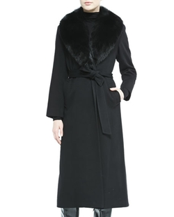 Fur-Collar Belted Long Wrap Coat by Sofia Cashmere in Keeping Up With The Kardashians