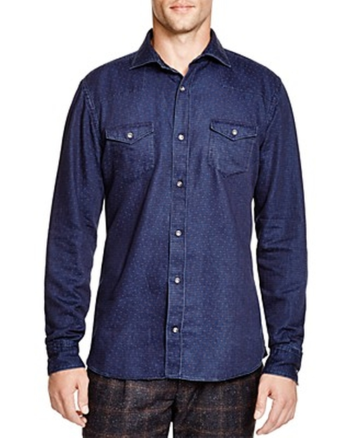 Dot Classic Fit Button Down Shirt by Eleventy in The Flash - Season 2 Episode 1
