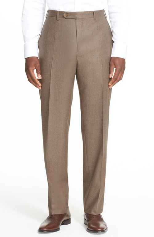 Flat Front Solid Wool Trousers by Canali in The Living Daylights