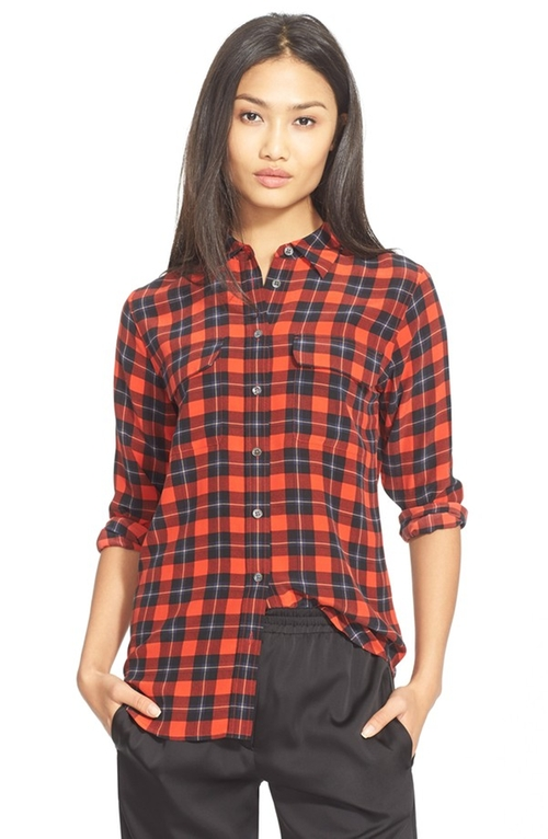 'Slim Signature' Plaid Silk Shirt by Equipment in The Big Bang Theory - Season 9 Episode 5