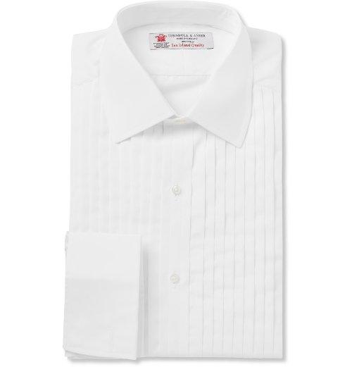 Sea Island Cotton Tuxedo Shirt by Turnbull & Asser in Spy