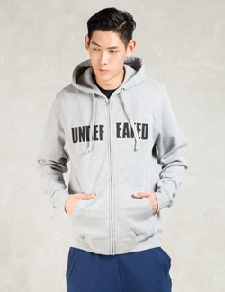 Grey Undefeated Split Zip Hoodie by Undefeated   in New Girl