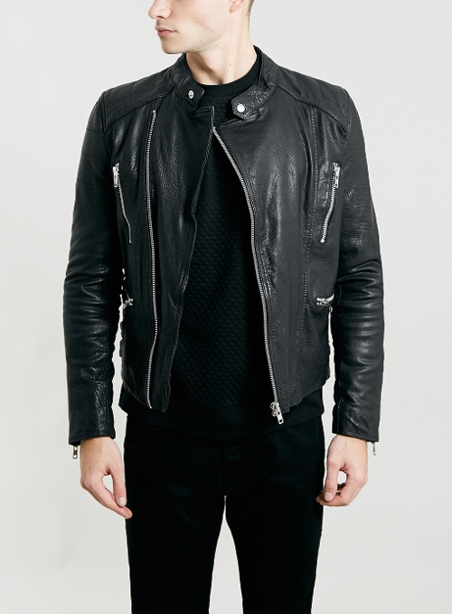 Black Collarless Biker Jacket by Topman in Barely Lethal