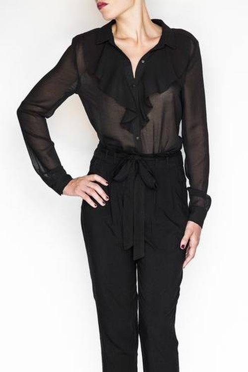 Sheer Ruffle Blouse by Umgee in By the Sea