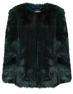 Emerald Green Faux Fur Coat by THP Shop in Scream Queens