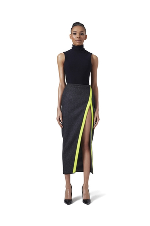 V Wrap Wool Skirt by LaQuan Smith in Keeping Up With The Kardashians - Season 11 Episode 4