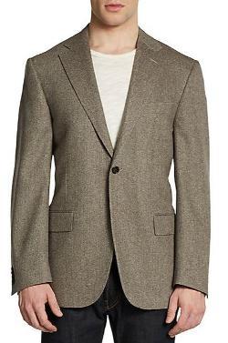 Virgin Wool & Cashmere Herringbone Slim-Fit Blazer by Corneliani in Yves Saint Laurent