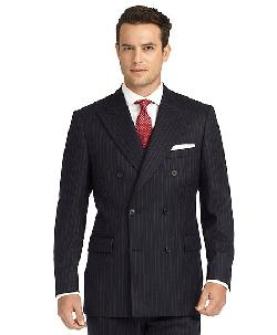 Madison Fit Chalk Stripe Double-Breasted Flannel 1818 Suit by Brooks Brothers in The Great Gatsby
