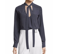 Priya Polka-Dot Tie-Neck Blouse by Alexis in Keeping Up With The Kardashians