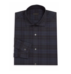 Checked Long Sleeve Cotton Shirt by Z Zegna in Scream Queens